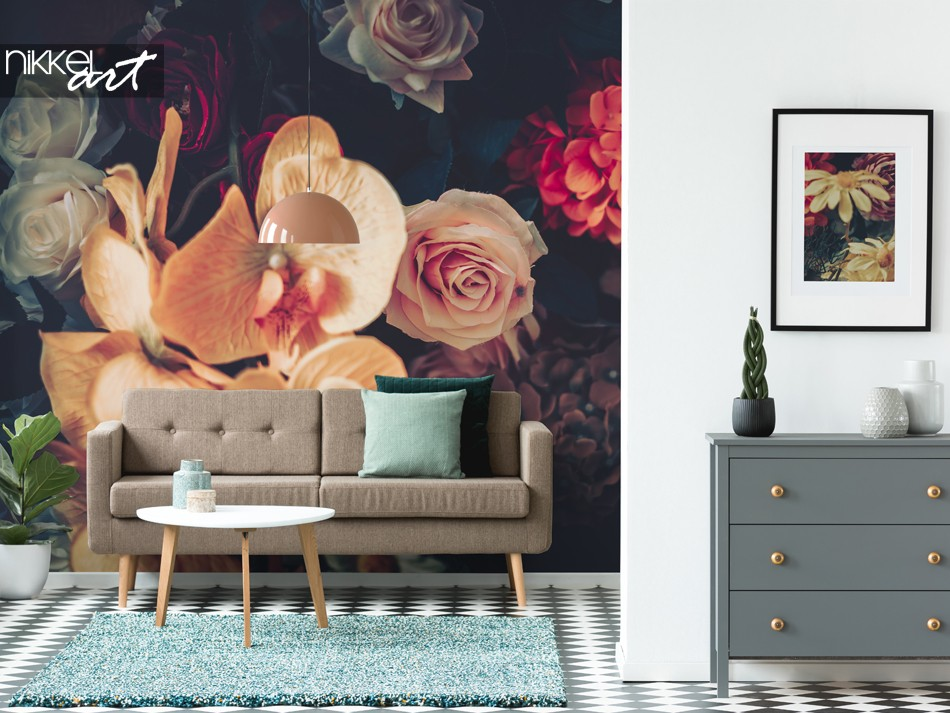 Living Room Wall Mural with Vintage Style Flowers