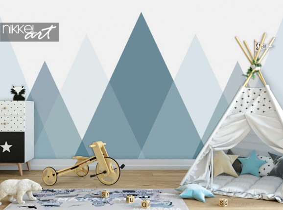Photo wall paper with triangles