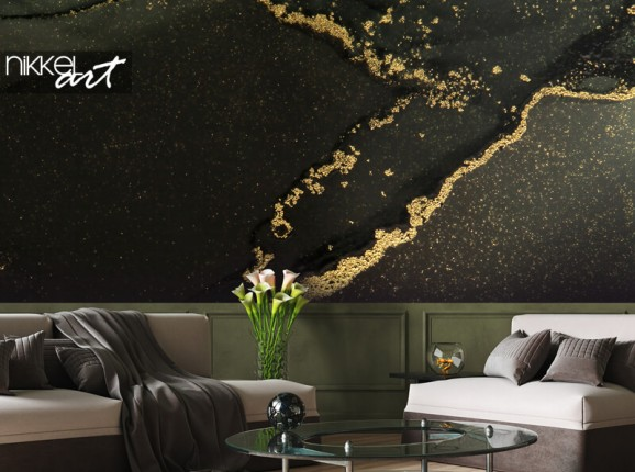 Photo wallpaper black and gold marble