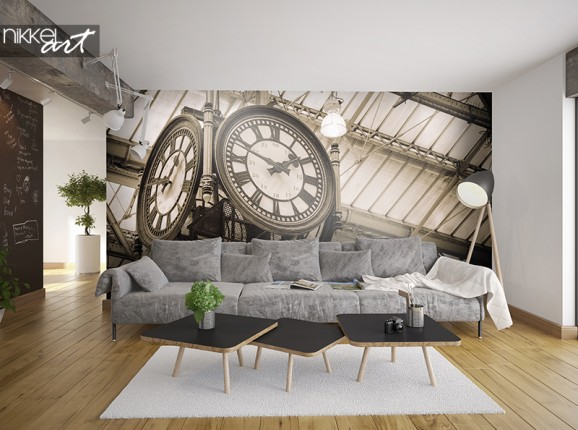 Old clock on photo wallpaper