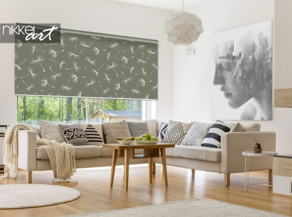 Photo roller blind with dandelions