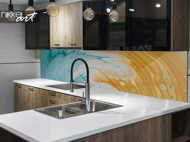 Abstract kitchen splash back