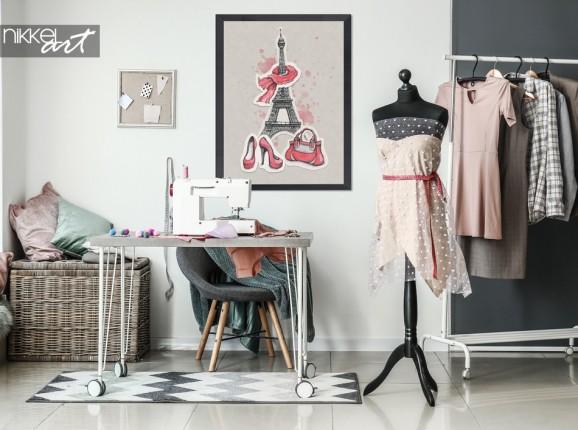 Hobbykamer met Poster Illustratie Parijs