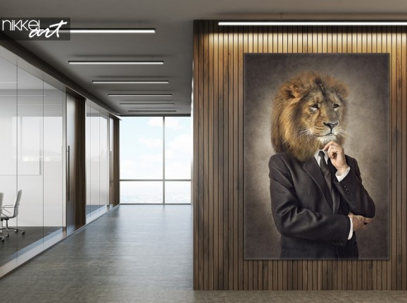 Office with Photo of Canvas Hipster Lion