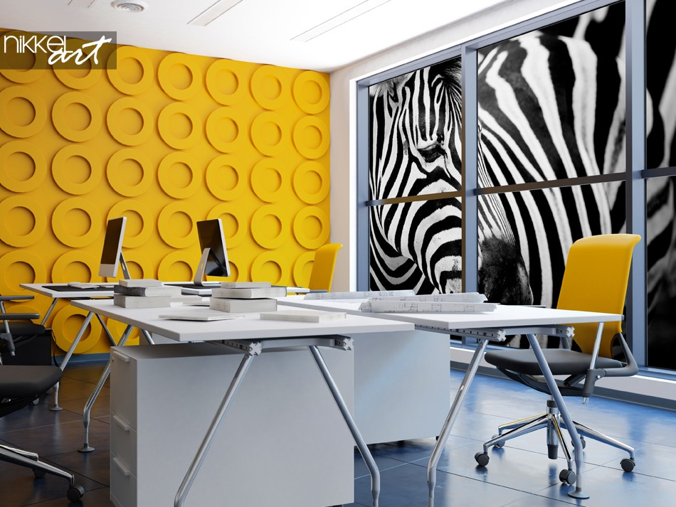 Colorful Office Space with Window Sticker Zebra