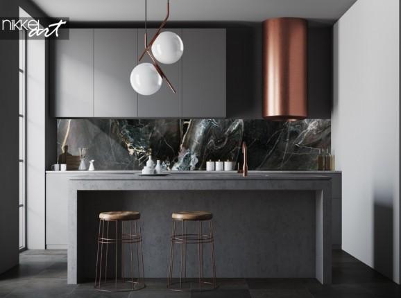Kitchen Splashback with Photo of Marble Texture