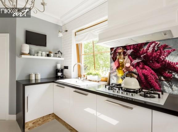 Glass Kitchen Splashback with Photo Condiments