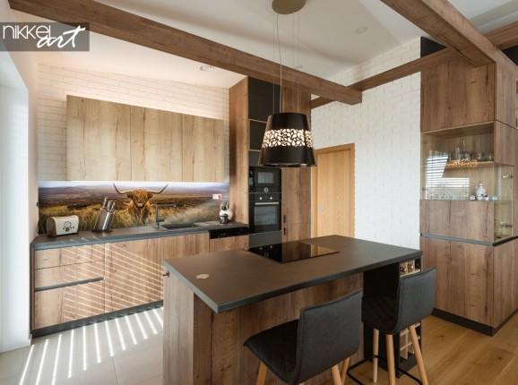 Glass Kitchen Splashback with Photo Highlander Cow