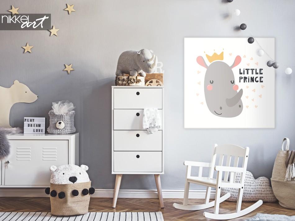 Nursery with Illustration Rhino on Canvas