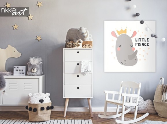 Nursery with Illustration Rhino on Canvas