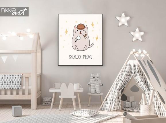 Nursery with Poster Illustration Detective Kitten