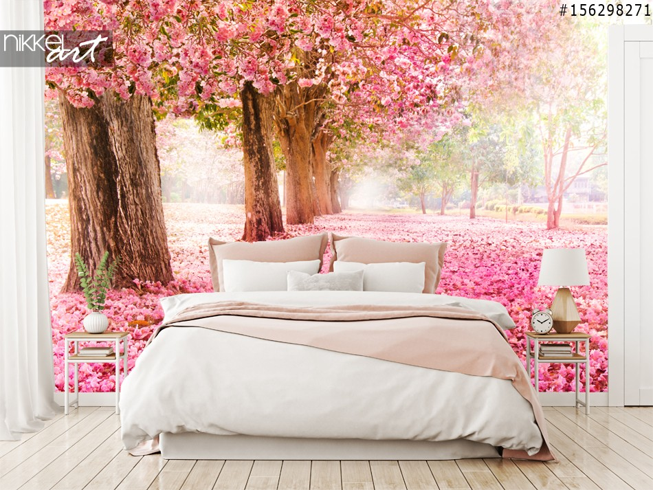 Wall Murals Cherry Blossom Pathway