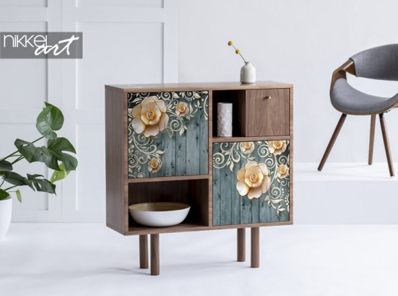 Furniture sticker with flowers on a wooden background