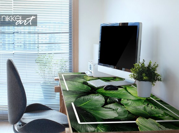 Furniture sticker with tropical leaves
