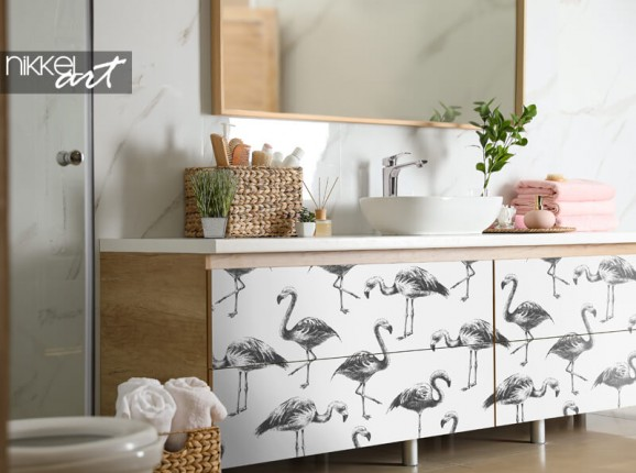 Furniture sticker with flamingos