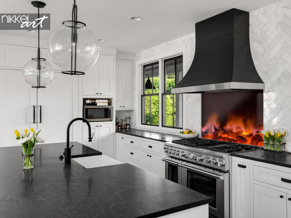 Glass Kitchen Splashback Glowing Hot Coals