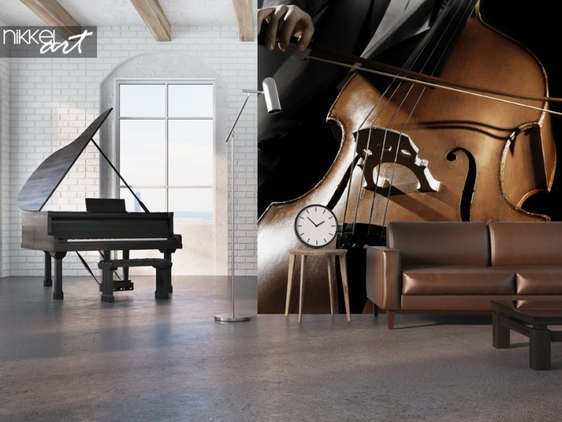 Studio with Wall Mural Music Instrument