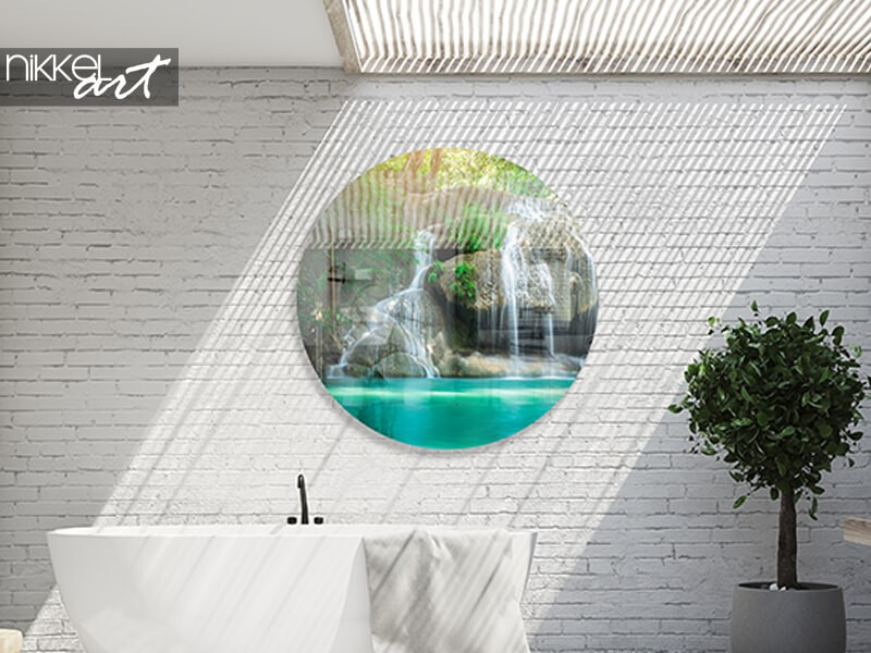 Acrylic wall circle with a tropical water fall