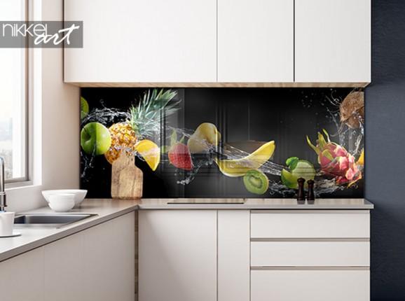 Glass kitchen splash back with fruit