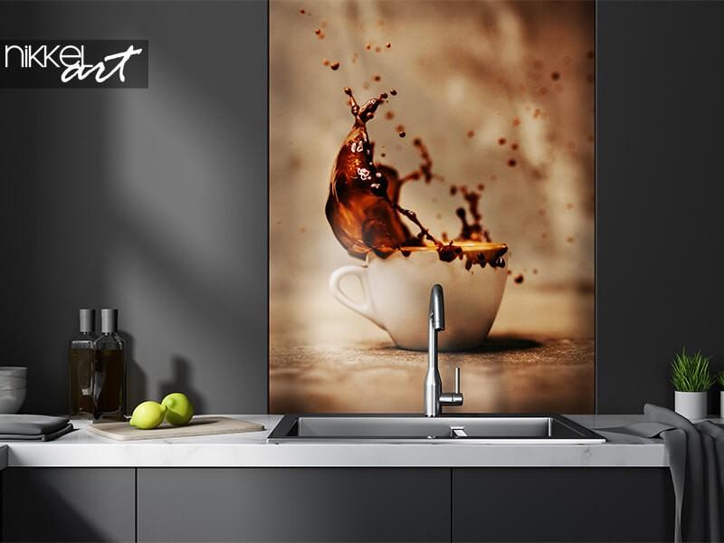 Glass kitchen splash back with coffee splash