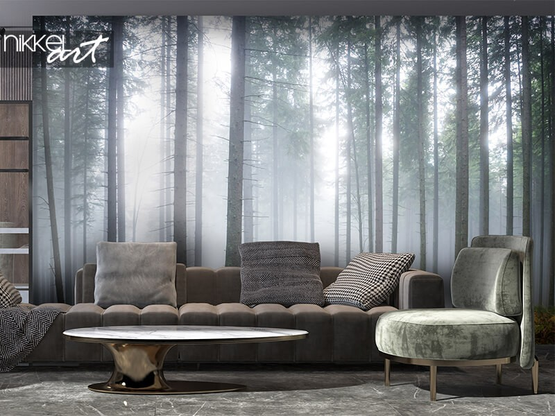 Photo wall paper foggy forest