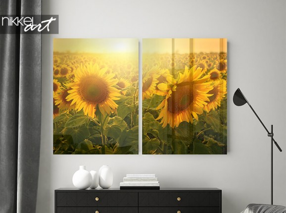 Acrylic diptych with sunflowers