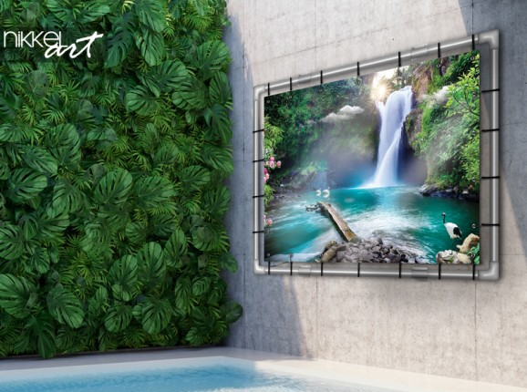 Garden poster with waterfall