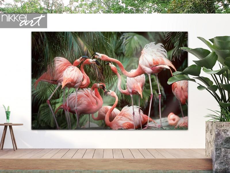 Garden poster with flamingos