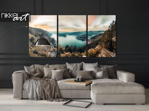 Acrylic 3-piece mountain lake