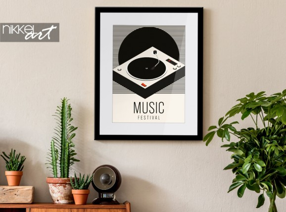 Framed poster with a gramophone