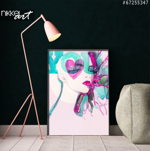 Poster Abstract illustrated beautiful woman