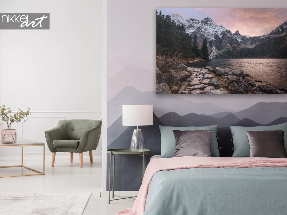 Bedroom with Dreamy Mountains at Sunset on Canvas