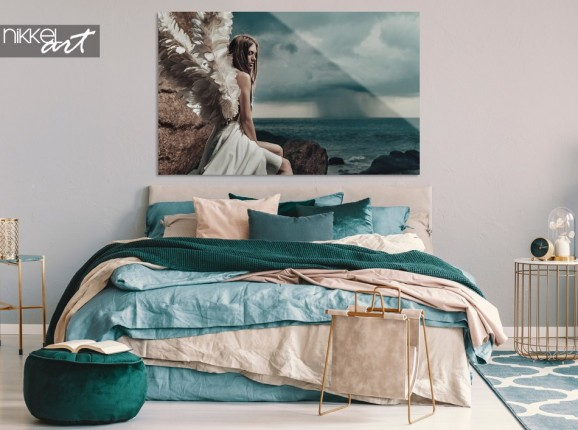 Bedroom with Photo Angel Lady on Acrylic