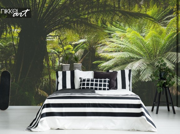 Bedroom with Wall Mural Jungle