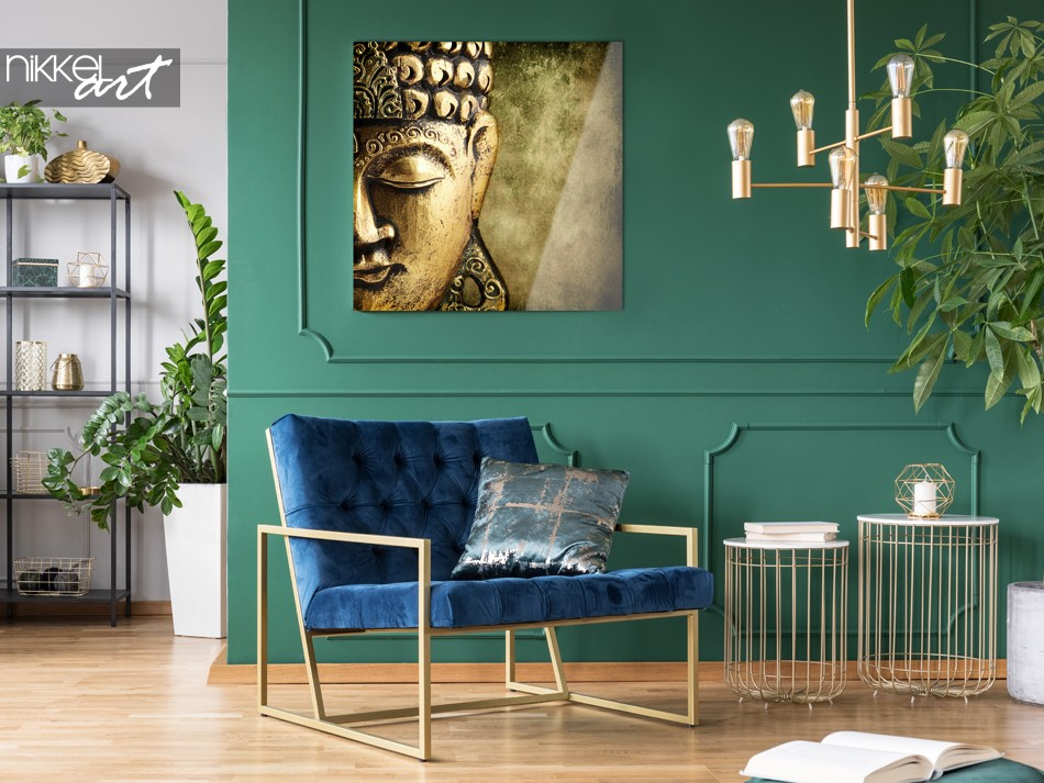 Living Room with Photo of Buddha on Plexiglas