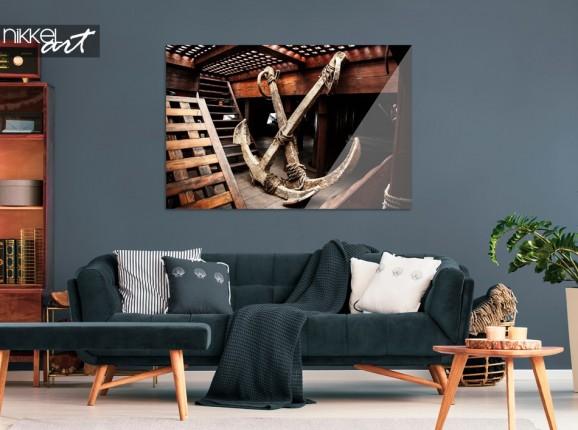 Living Room with Print of Ship on Acrylic