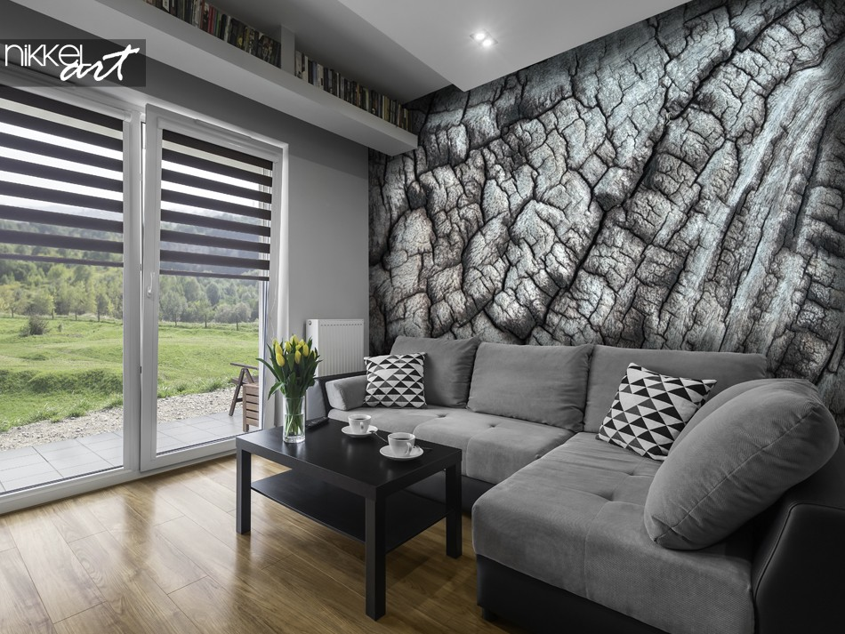 Living Room with Photo Wallpaper Tree Texture