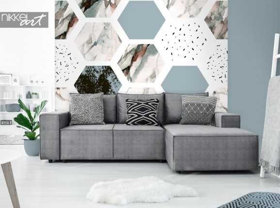 Living Room with Wall Mural Graphic Print