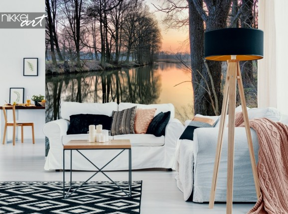 Living Room with Wall Mural Winter Forest
