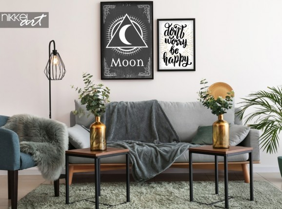 Living Room with Poster Retro Sign