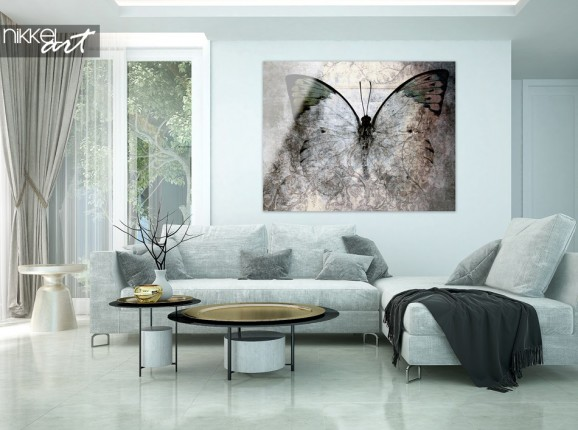 Living Room with Butterfly in Grunge on Acrylic