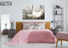 Bedroom with Photo Dandelion on Canvas