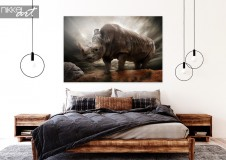Bedroom with Photo Rhino on Aluminum