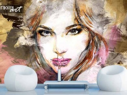 Wall Murals Watercolor Face