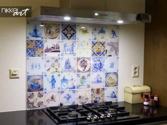 Printed kitchen splashbacks with pictures of tiles