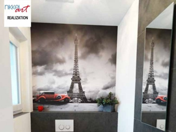 Wall Mural Eiffel Tower in Paris in the toilet