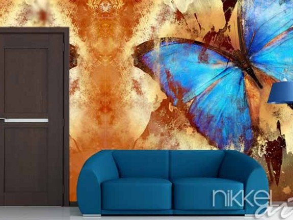 Wall Mural butterfly in grunge style