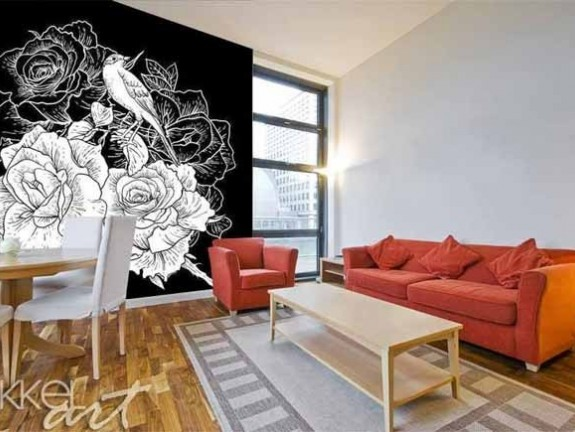Wall Murals Floral black and white