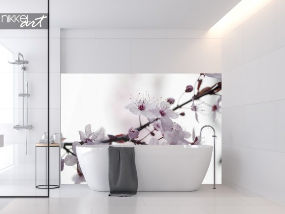 Bathroom With Glass Splashback Cherryblossom