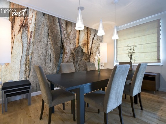 Dining Room with Wall Mural Tree Bark